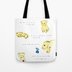 the lion  and the mouse. Tote Bag