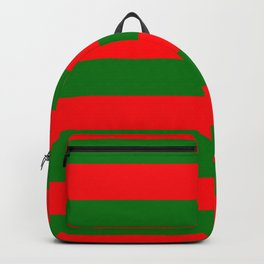Red and Green Christmas Cabana Stripes Backpack