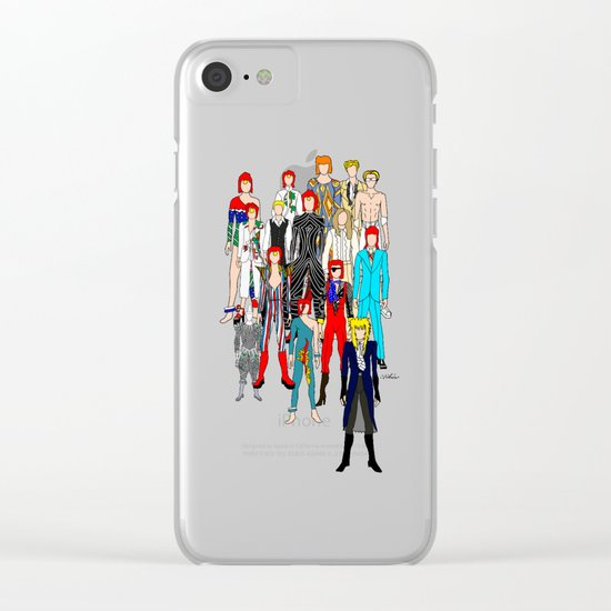 Bowie Doodle Square Clear iPhone Case