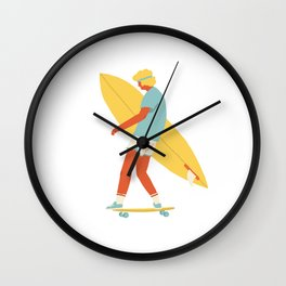Skater from 70s Wall Clock