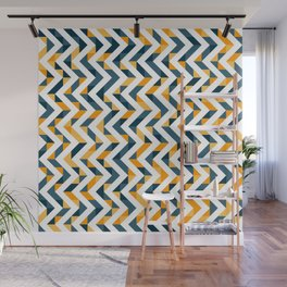 Chevron Oranges and Ink - Geometric Pattern Wall Mural