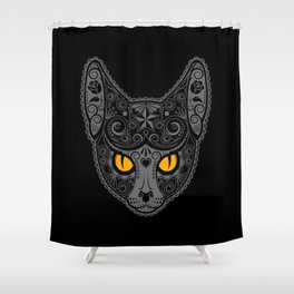 Gray Day of the Dead Sugar Skull Cat Shower Curtain