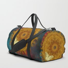 Magical fire mandala and gold butterfly Duffle Bag