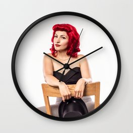 """""""Red Hair Don't Care"""" - The Playful Pinup - Red Haired Bowling Girl Pin-up by Maxwell H. Johnson Wall Clock"""