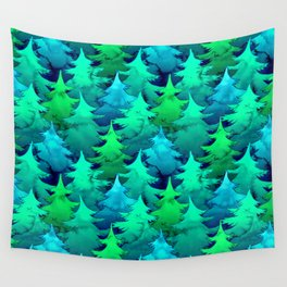 Blue and Green Watercolor Pines Wall Tapestry