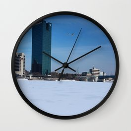 Toledo Fifth Third Bank Downtown in Winter Wall Clock