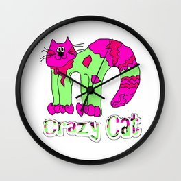 Crazy Cat Pink and Green Wall Clock