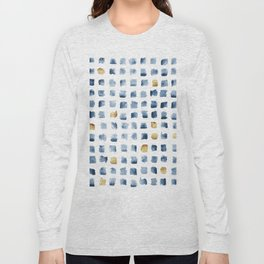 Watercolor Indigo Gold Geometrical Squares Pattern Long Sleeve T-shirt