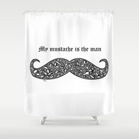 mustache Shower Curtains featuring Mustache by Rucifer