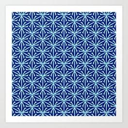 Cyan Curves Sharp Edges Radial Design Latticed Lines Spirit Organic Art Print