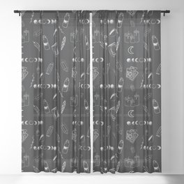 Witchy Stuff Black Sheer Curtain