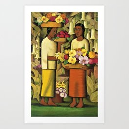 Mujeres con flores (Woman selling Zinnias, Lilies, Angels Trumpet & Begonias) by Alfredo Martinez Art Print