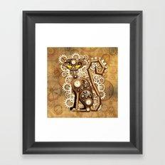 Steampunk Cat Vintage Style Framed Art Print