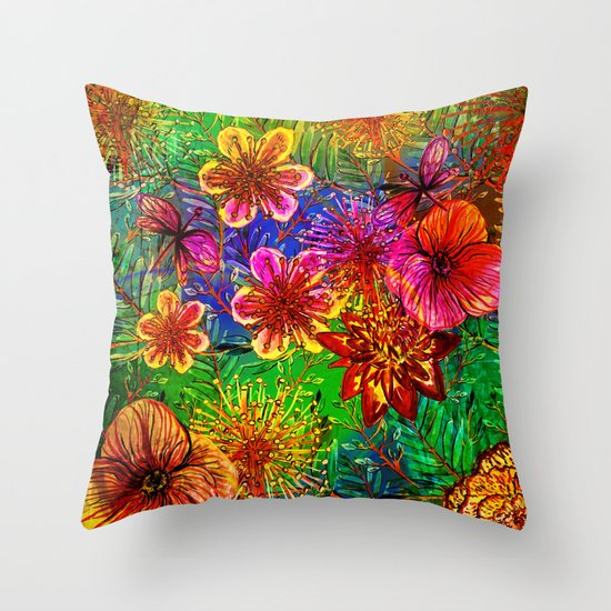 Tropical Heat-Colorful Floral Exotic Tropical Flower Pattern Throw Pillow by UtArt Society6