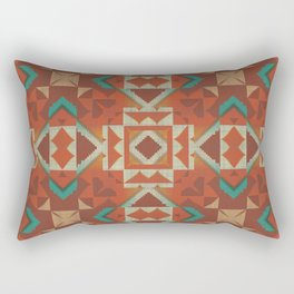 Orange Brown Teal Green Native American Indian Mosaic Pattern Rectangular Pillow