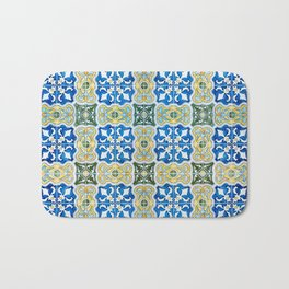 Seamless Floral Pattern Ornamental Tile Design : 6  blue, yellow Bath Mat