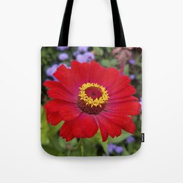 Red zinnia - blazing ring of fire Tote Bag