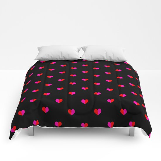 Valentines Day Hearts love gift cute gift for him or her gender neutral pink black red heart pattern Comforters