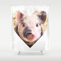 piglet Shower Curtains featuring Cartoon Piglet in heart by MehrFarbeimLeben