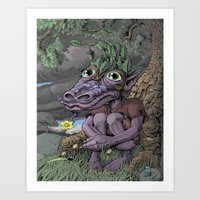 Little Old Dragon Man Art Print