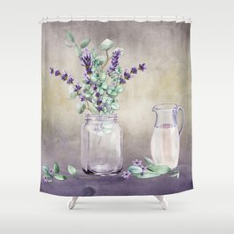 Country Lavender and Eucalyptus Shower Curtain