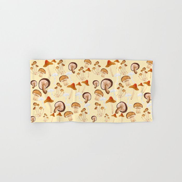mushroom pattern watercolor painting Hand & Bath Towel