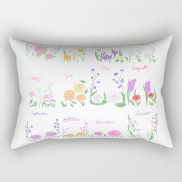 Birthday Month Flowers Rectangular Pillow