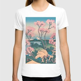 Spring Picnic under Cherry Tree Flowers, with Mount Fuji background T-shirt
