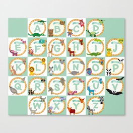 ABC alphabet for kids from A to Z. Set of funny cartoon animals character. zoo Canvas Print