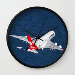Qantas Airbus A380 departing Sydney. Wall Clock