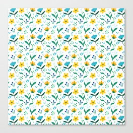 Summer flowers in yellow and blue in white background Canvas Print
