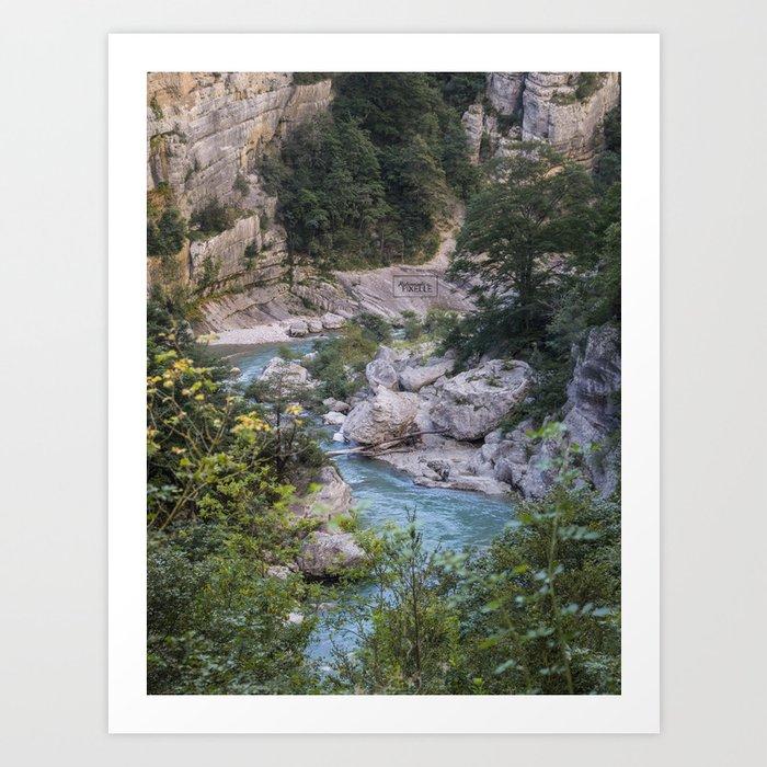 Walking by the river Art Print