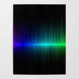 Rainbow Radio Waves Digital Illustration - Artwork Poster