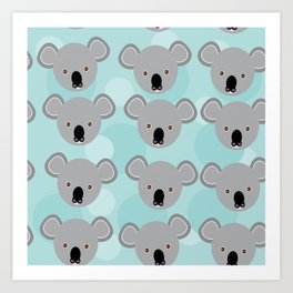 koala Seamless pattern with funny cute animal face on a blue background Art Print