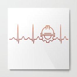 Engineer Heartbeat Metal Print