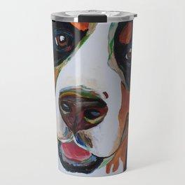Colorful Bernese Mountain Dog Travel Mug