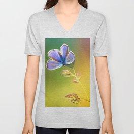Artemis Lavender   Butterfly Oil Painting Unisex V-Neck