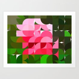 Pink Roses in Anzures 4 Abstract Circles 1 Art Print