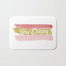 Stay Classy Blush Stripes - White Bath Mat