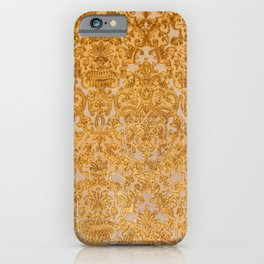 Elegant chic lux look gold grunge floral damask iPhone Case