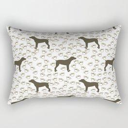 Big Brown Dog and Paw Prints Rectangular Pillow