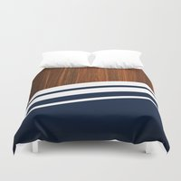navy Duvet Covers featuring Wooden Navy by Nicklas Gustafsson
