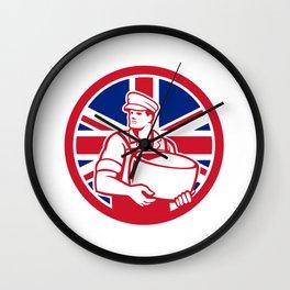 British Artisan Cheese Maker Union Jack Flag Icon Wall Clock