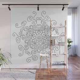 Gray Line Swirl Mandala Wall Mural
