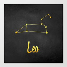 Leo Zodiac Constellation in Gold Canvas Print