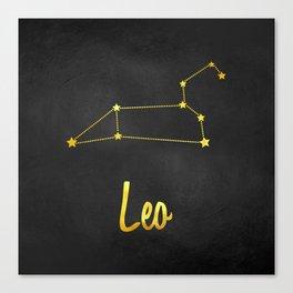 Leo Zodiac Constellation in Gold Canvas Print