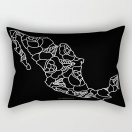 Mexico Map White Outline Rectangular Pillow