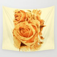 peach Wall Tapestries featuring peach rose by clemm