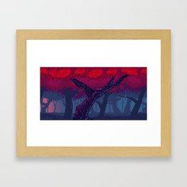 Pixel Red Forest Framed Art Print