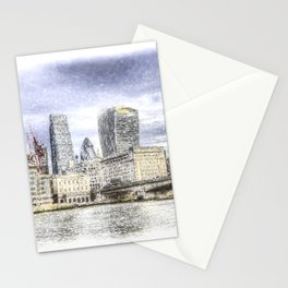 City of London and River Thames Snow Art Stationery Cards